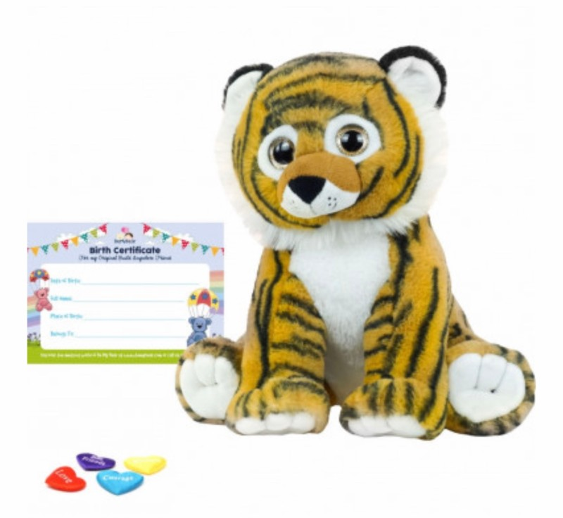 """16"""" tiger, includes stuffing, a wish, birth certificate and a bag"""