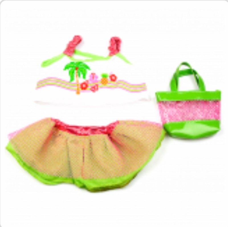 "8"" tropical 3 piece, skirt, top and bag"