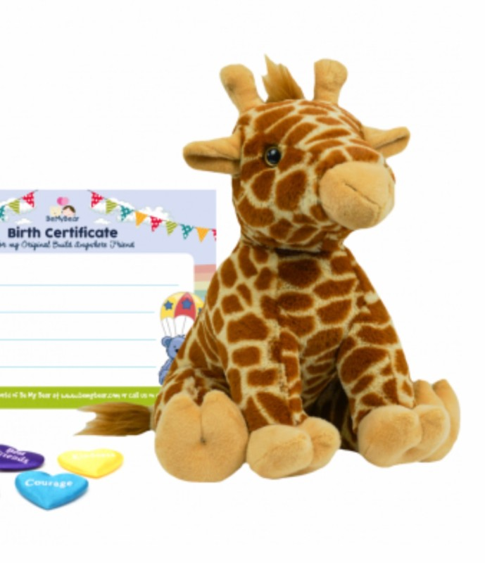 """8"""" Giraffe, includes stuffing, a wish, birth certificate and a bag"""