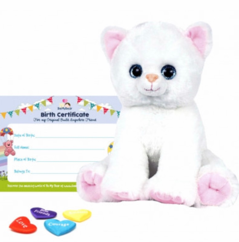 """16"""" white kitty, includes stuffing, a wish, birth certificate and a bag"""