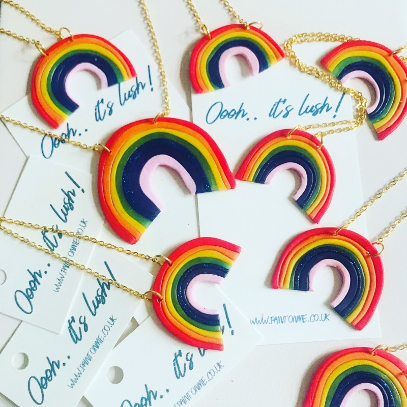 Polymer handcrafted rainbow pendant on a gold plated chain