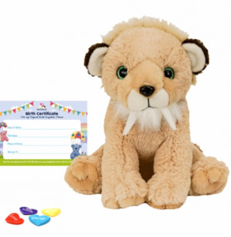 """16"""" saber tooth tiger, includes stuffing, a wish, birth certificate and a bag"""