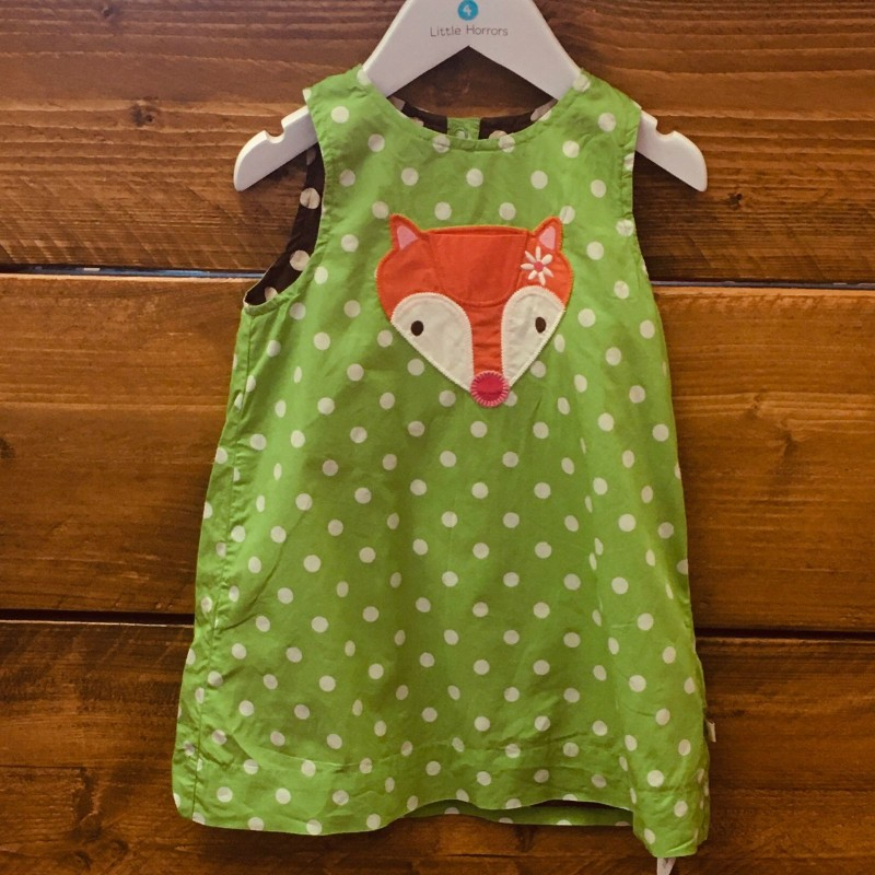 FRUGI REVERSIBLE DRESS LIME GREEN/BROWN WITH FOX 12-18M