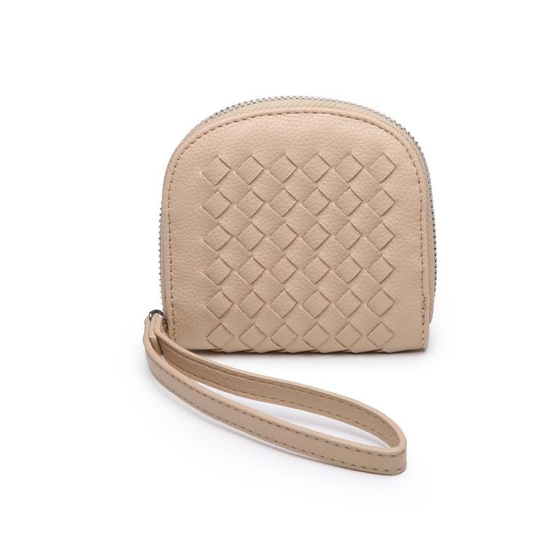 Basket Weave Coin Purse - Beige