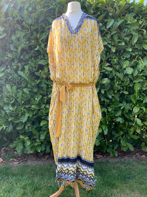MSH  summer dress yellow and  black with tie