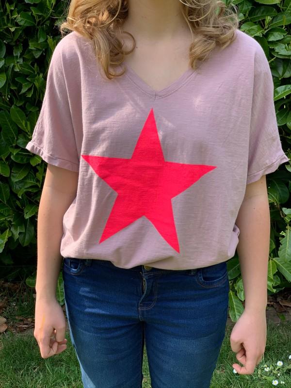 MSH cotton tee shirts fuchsia star design