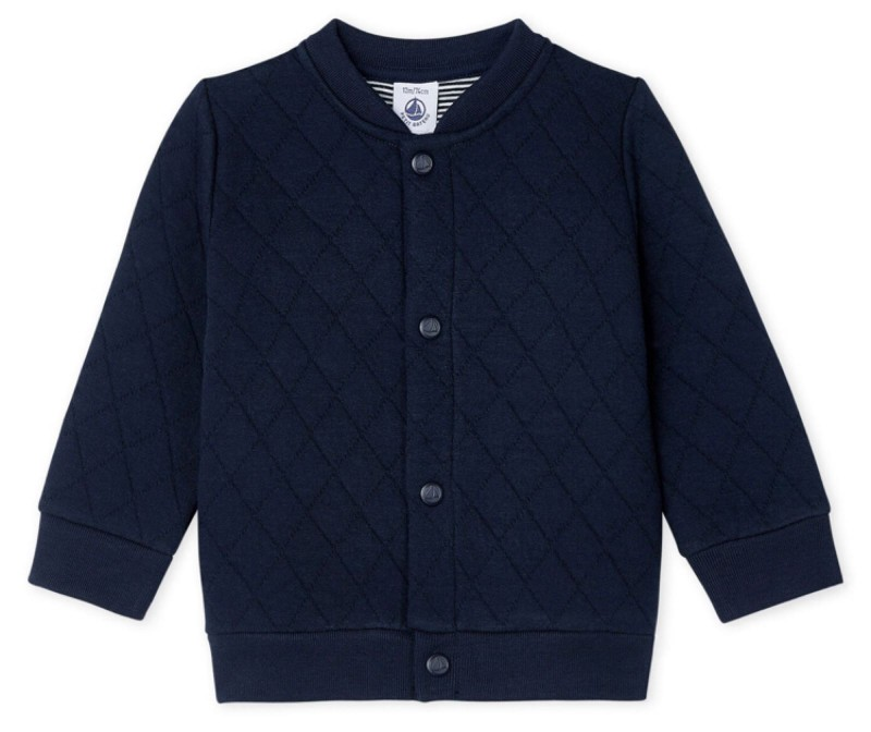Petit Bateau Baby Boys Quilted Tube Knit Cardigan