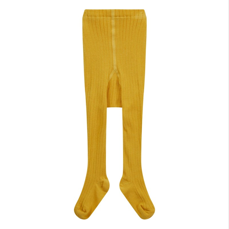 Piccalilly Mustard Ribbed Tights