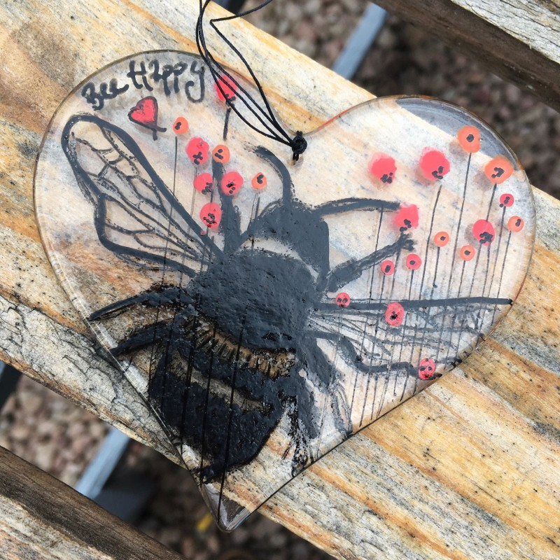 Fused glass 'bee happy' heart