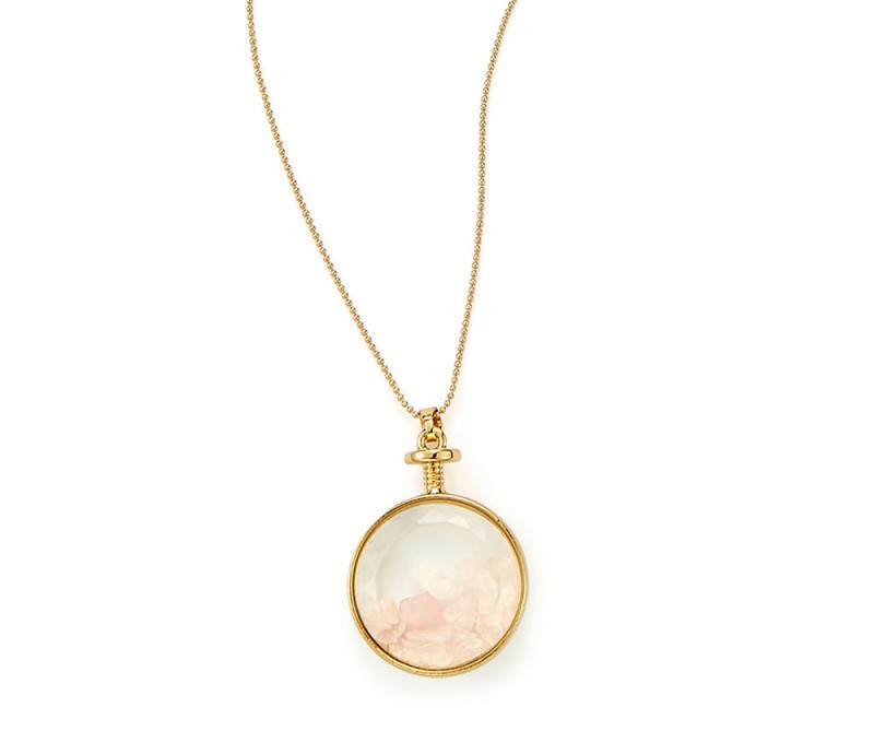 Halskette + Anhänger mit Rosenquarz-Steinen gold