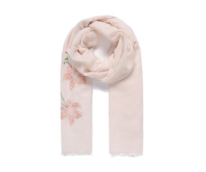 Schal mit Blumen bestickt rosa