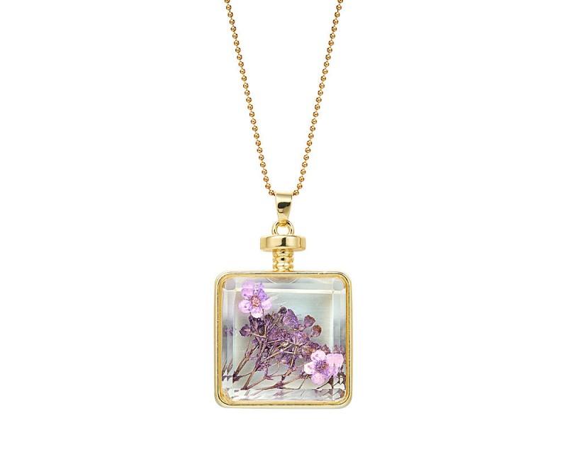 Halskette mit Trockenblumen-Anhänger - Violett