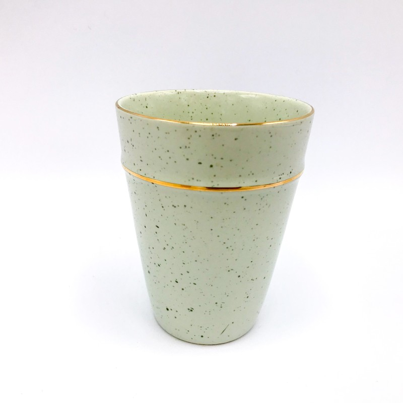 GREENGATE Cup pale green w/goldrim