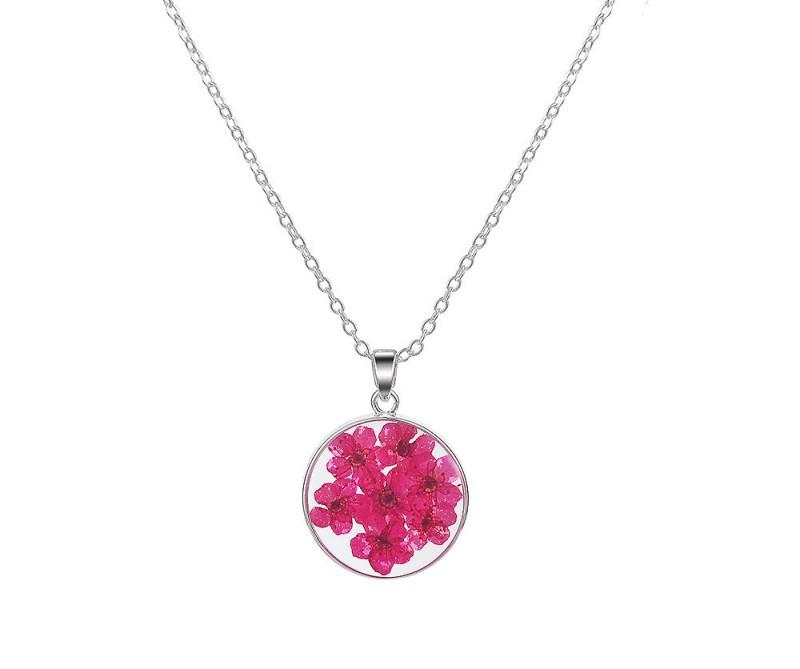 Halskette mit Trockenblumen pink