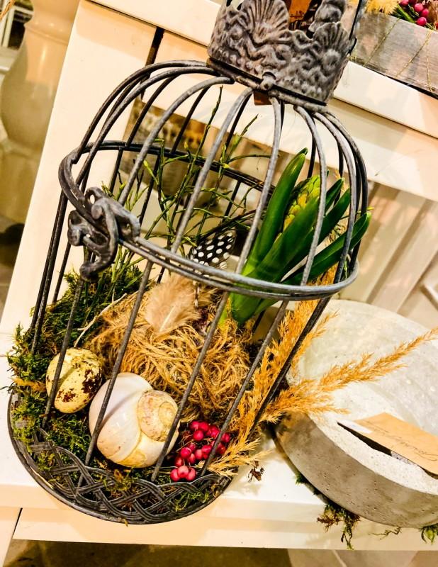 Frühlings-/ Ostergruß im Vogelkäfig