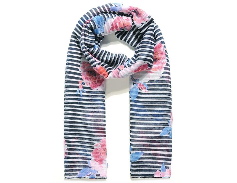 Schal mit Blumen- & Streifen-Muster - Marineblau