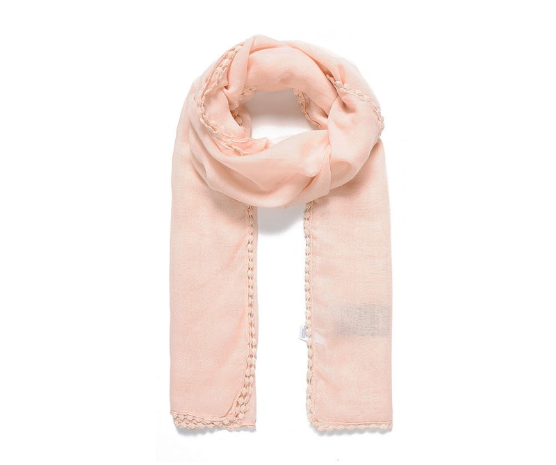 Schal mit Deko-Umrandung rosa/ apricot
