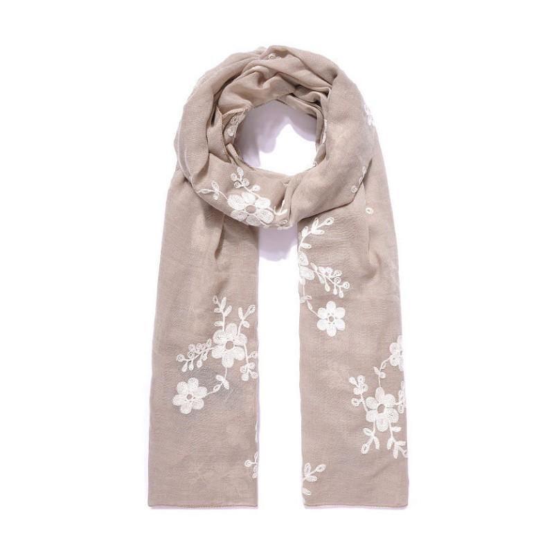 Schal mit Blumen bestickt - Beige