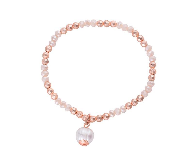 Perlen-Armband mit Perlen-Anhänger - Matt Rosé-Gold
