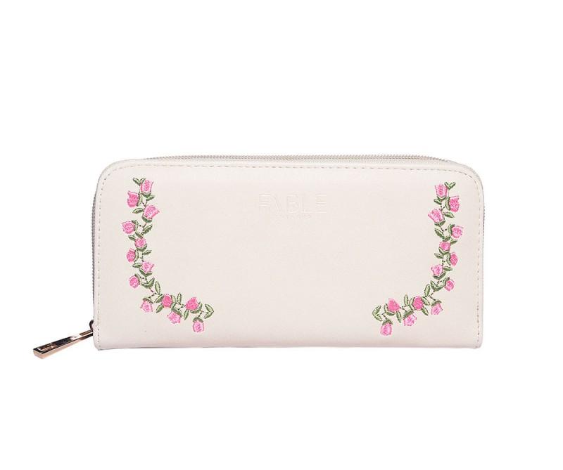 Portemonnaie mit Rosen bestickt - Elfenbeinfarben