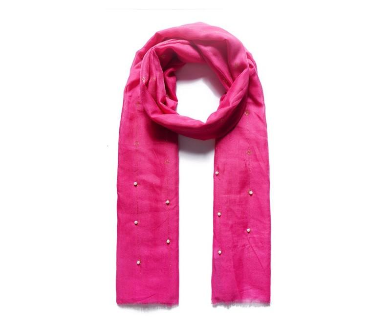 Schal mit Perlen/ pink