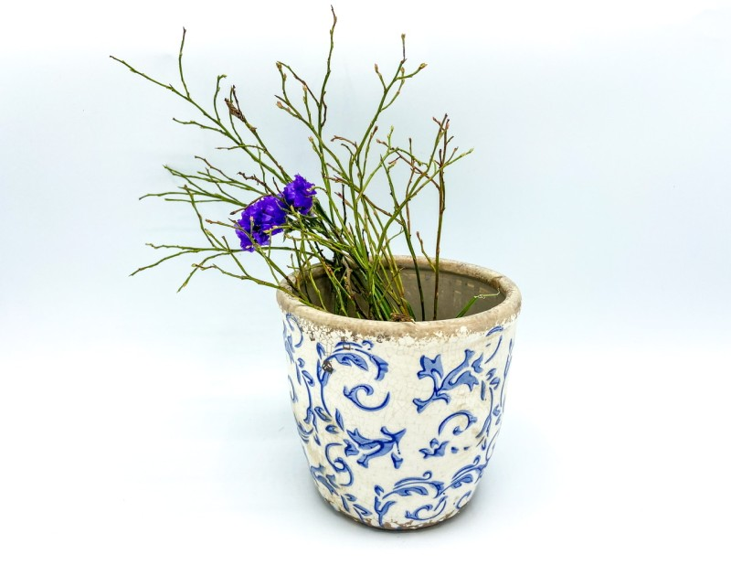 """Übertopf """"Blumenranken"""" weiß/blau"""