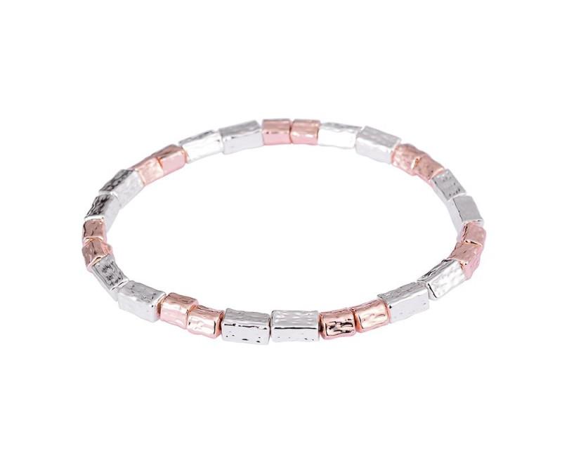 Armband mit Perlen-gehämmert silber/ rosègold