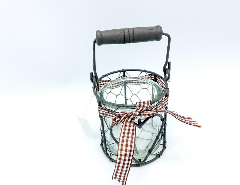 """Glaslaterne im Metallkörbchen """"Herz"""""""