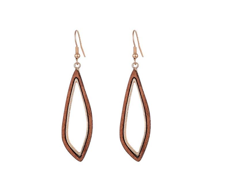 Hänge-Ohrringe aus Holz
