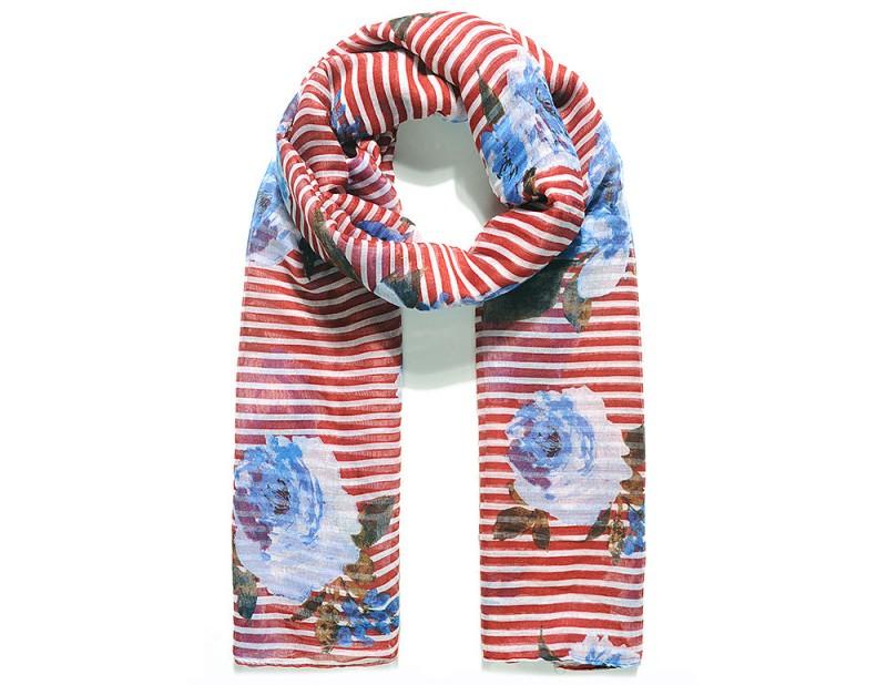Schal mit Blumen- & Streifen-Muster - Rot