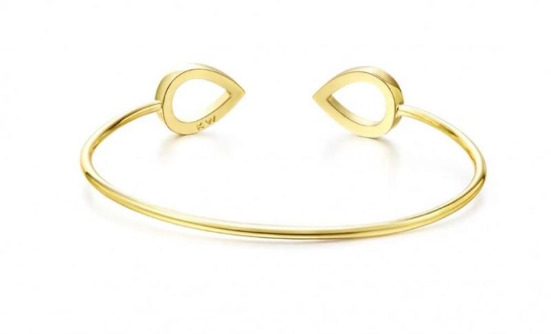 Tropfen-Armreif in gebürsteter Optik - Gold