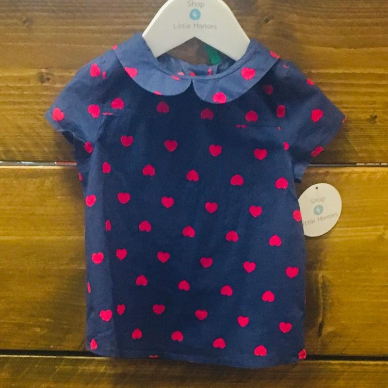 BENETTON BLUE/PINK HEARTS DRESS 12-18M