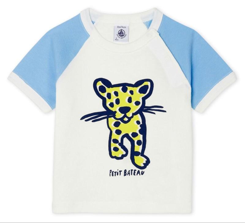 Petit Bateau Baby Boys' Short-sleeved Cheetah T Shirt
