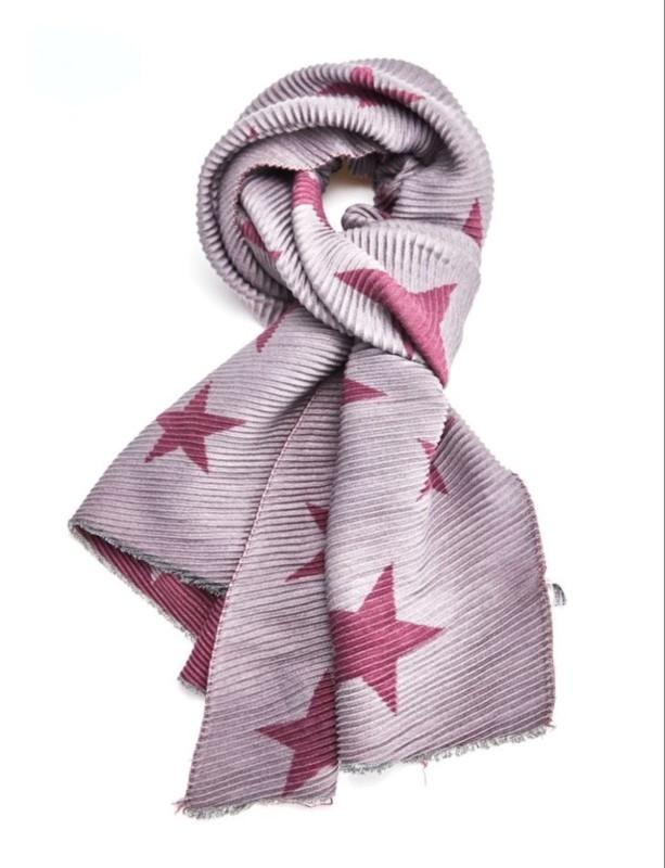 Pleated Scarf Stars - Raspberry/Grey
