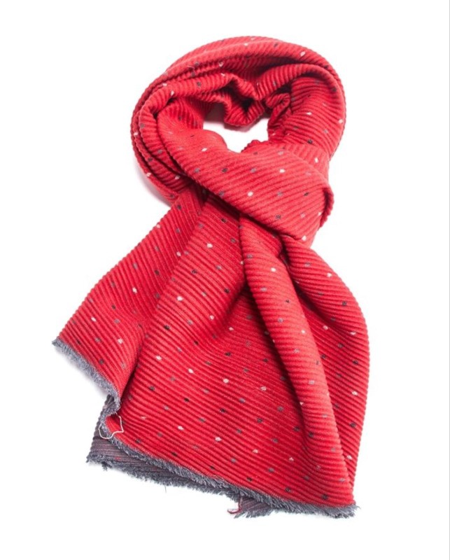 Pleated Scarf Tiny Dots - Red
