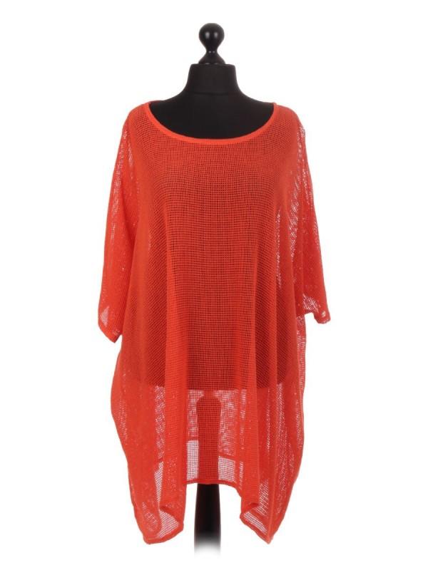 Italian Cotton Mesh Net Batwing Top - Orange