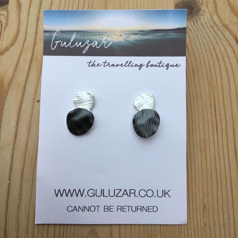 Disc Earrings - Silver/ Charcoal