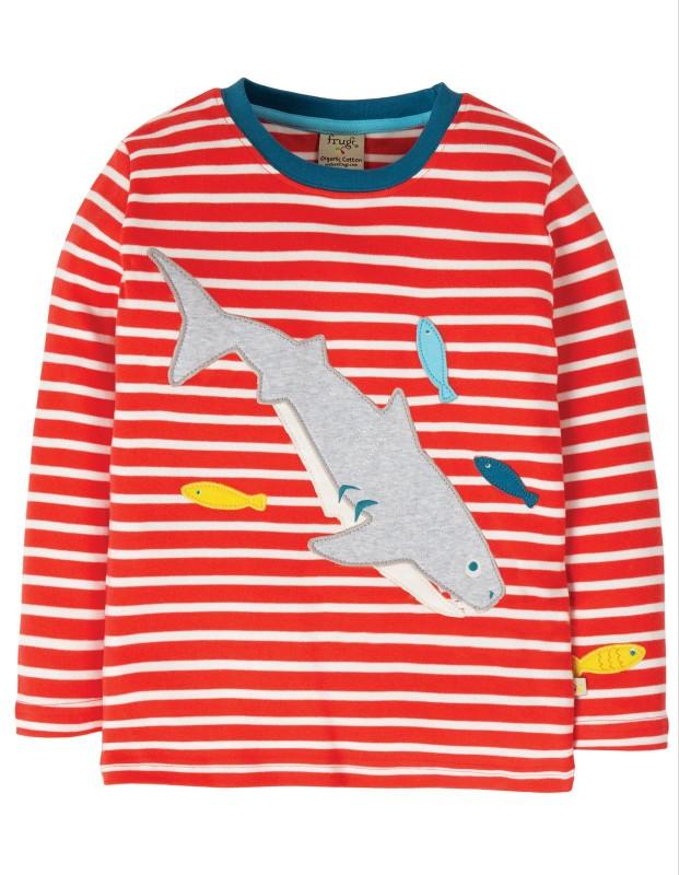 Frugi Discovery Appliqué Top, Koi Red Stripe/Shark