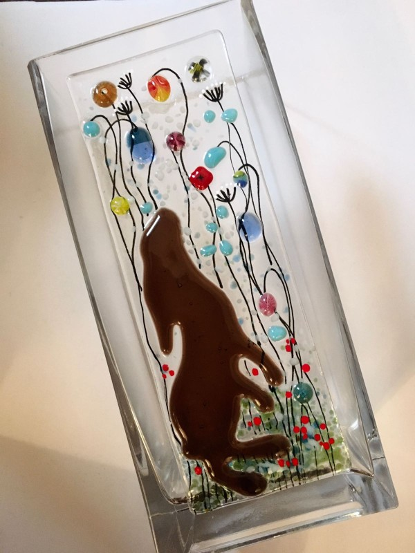 Fused glass meadow hare vase 22cm