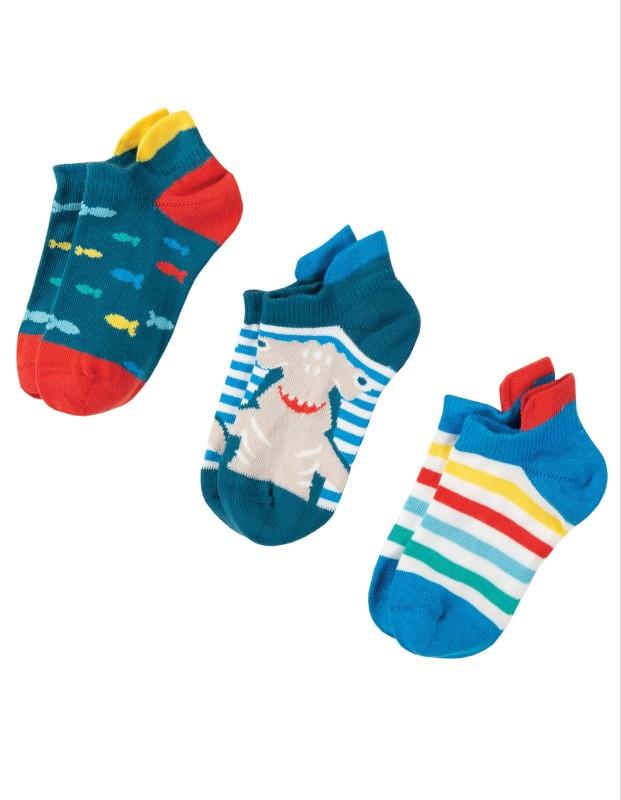 Frugi Arno Ankle Socks Shark Multipack