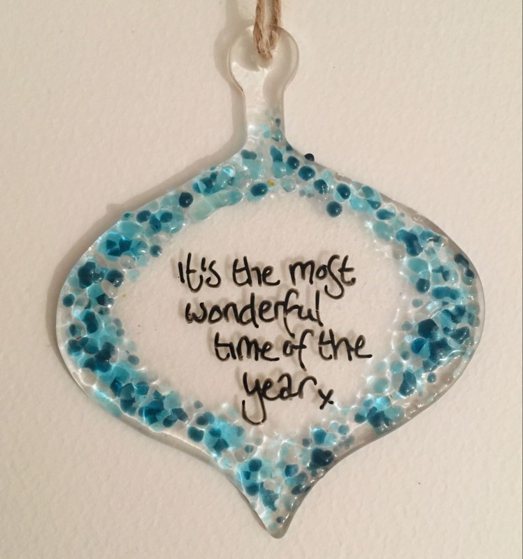 Blue/ silver fused glass bauble- choose your own words