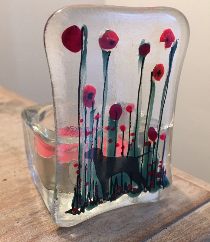 Pointer in the poppies tealight holder