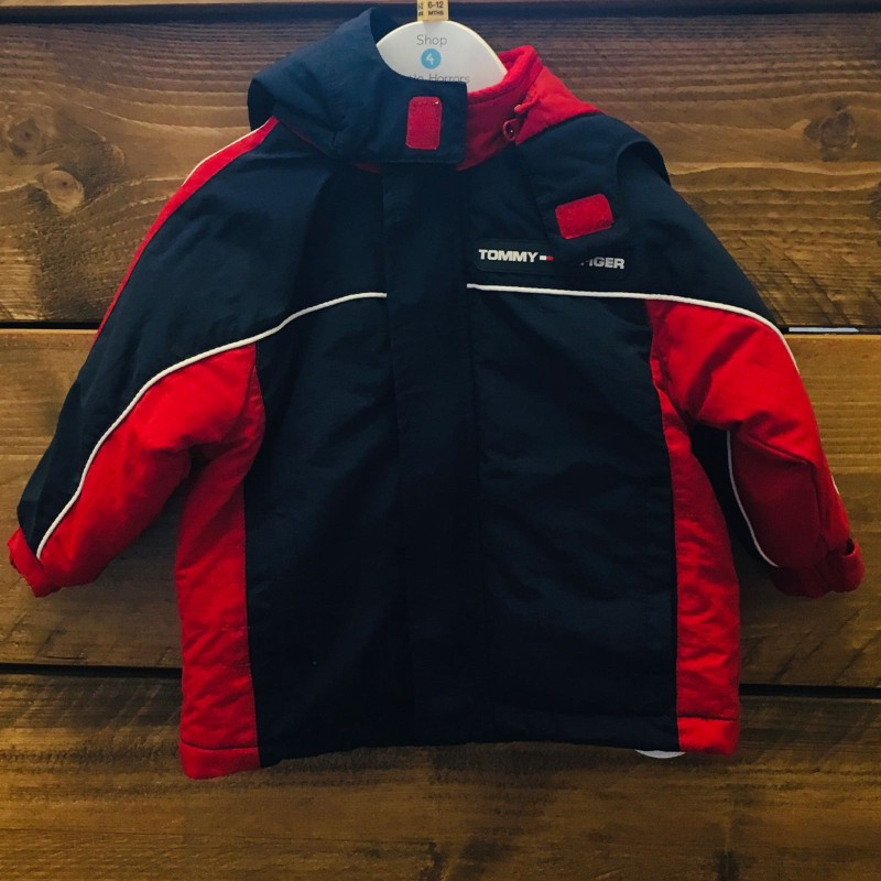 TOMMY HILFIGER HOODED COAT NAVY/RED 6-12M