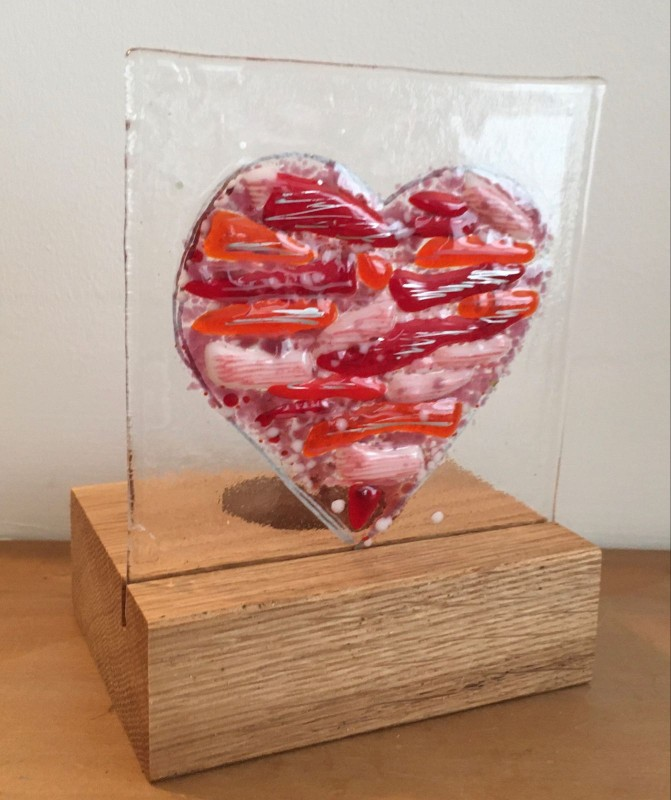 Fused glass heart in oak tealight holder
