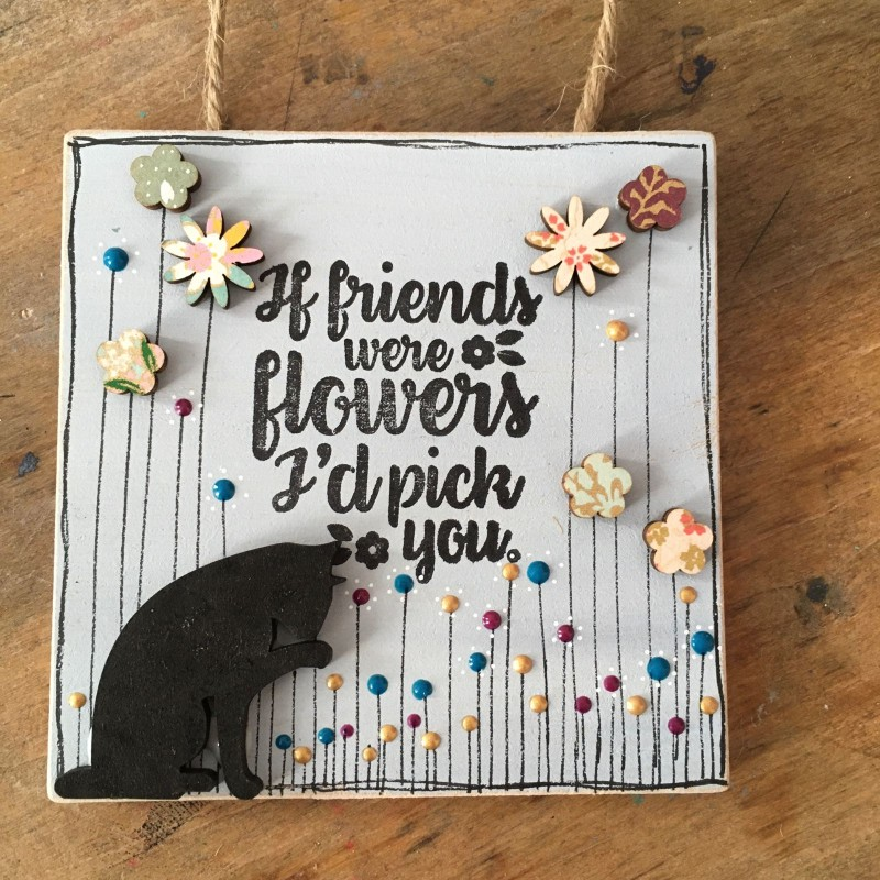 Wooden cat plaque 10x10cm
