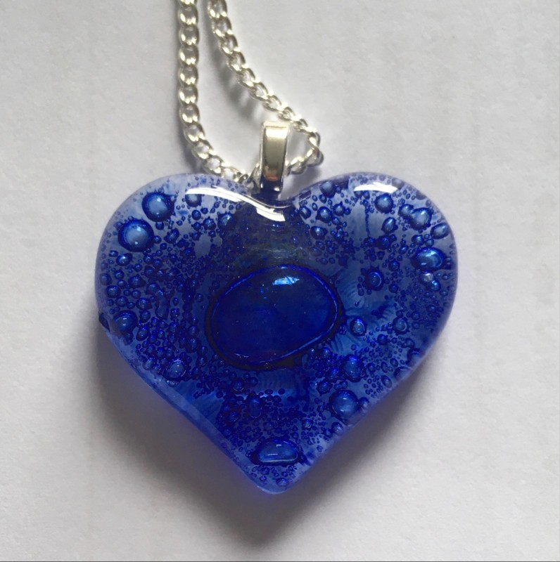 Cobalt blue bubbly heart fused glass pendant on silver plated chain