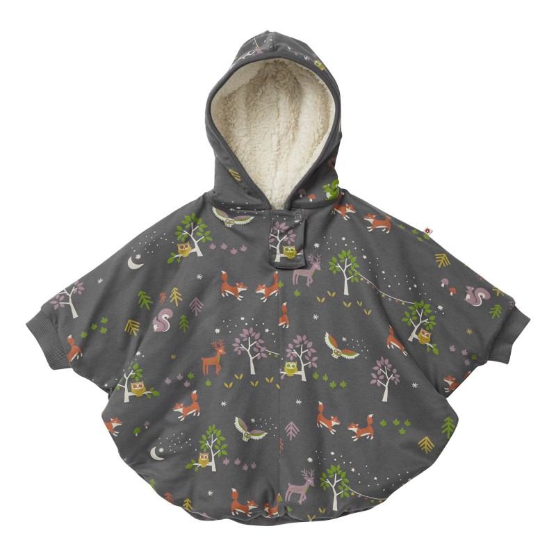 Piccalilly Sherpa Lined Poncho, Winter Woodland