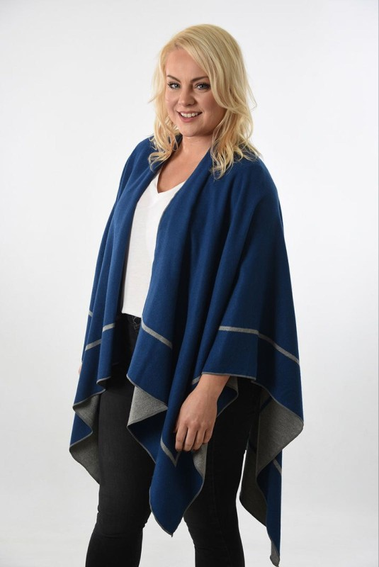 Reversible 2 Tone Cape with Stripe Edge - Grey/Blue