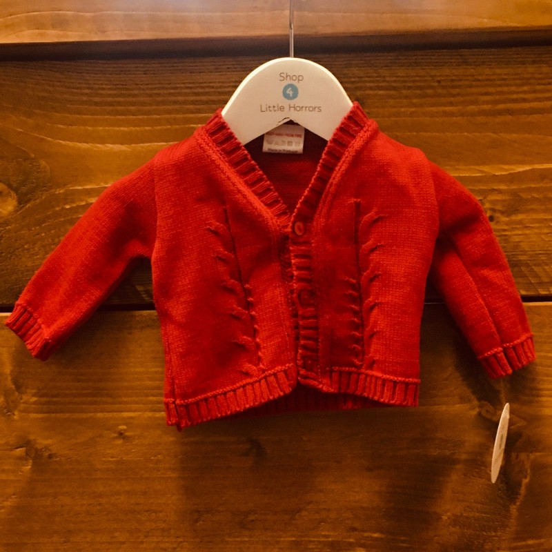 LITTLE NOSH RED CARDIGAN NEWBORN