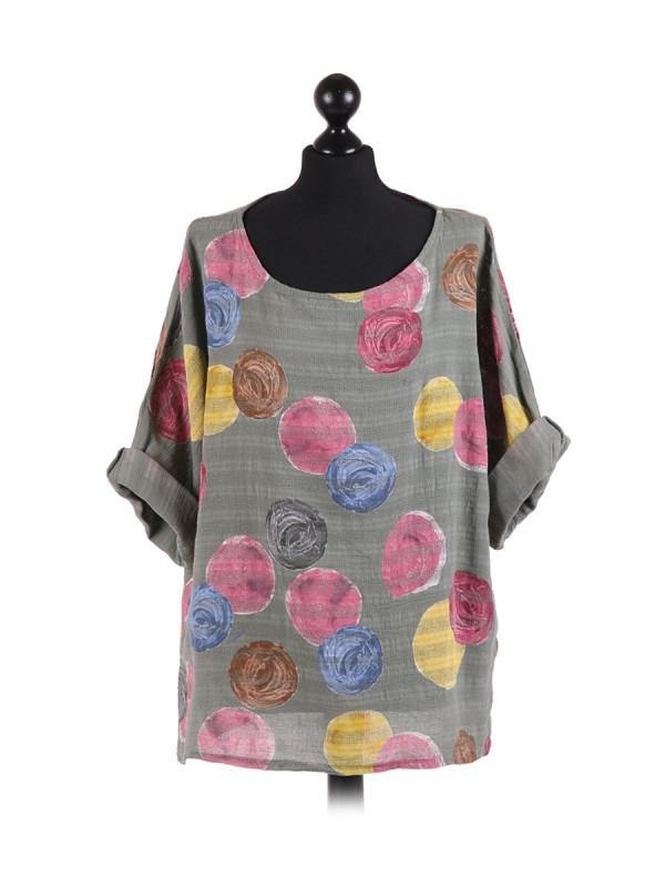 Italian Multicolor Polka Dot Cotton Crop Lagenlook Top - Grey
